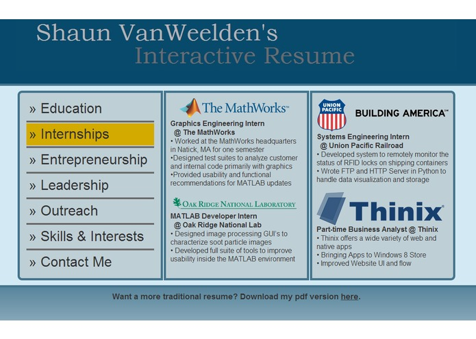 Interactive resume examples