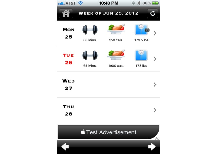 My Fitness Diary – screenshot 1