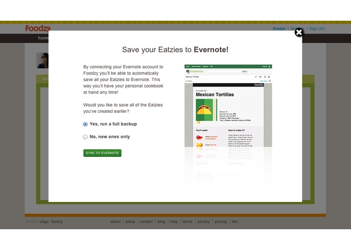 Save your Foodzy recipes to Evernote – screenshot 2