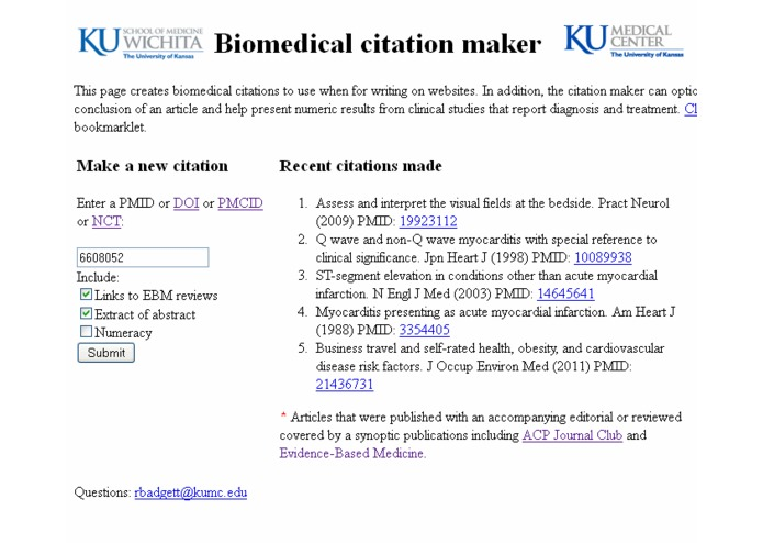 Biomedical Citation Maker for writing on the Web – screenshot 1