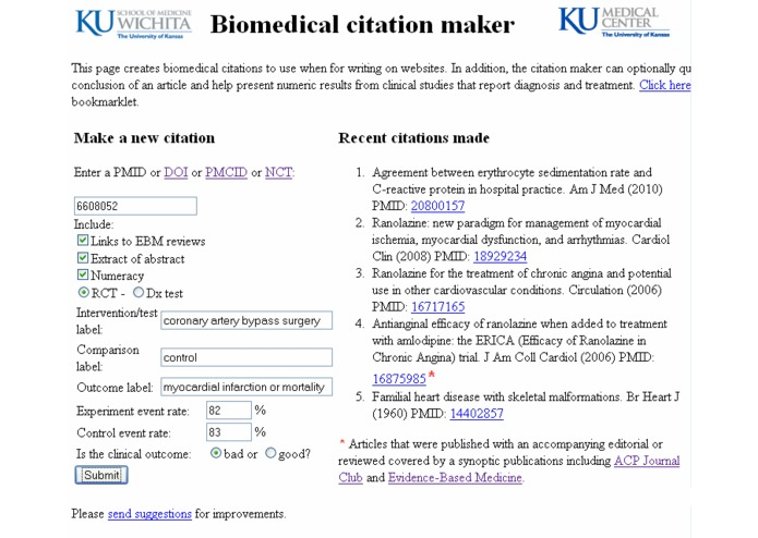 Biomedical Citation Maker for writing on the Web – screenshot 2