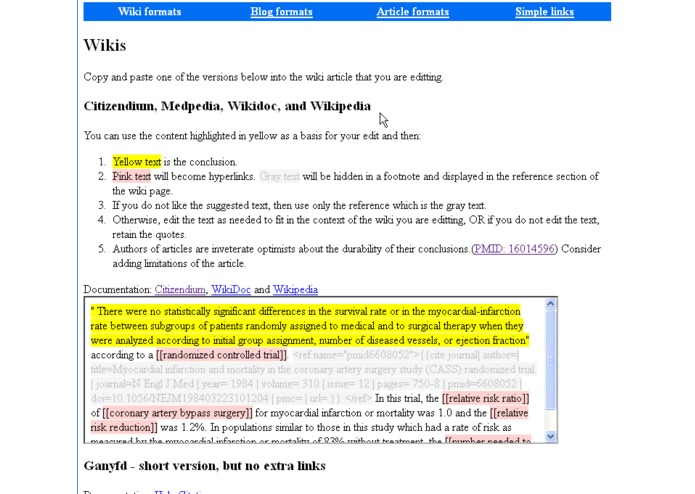 Biomedical Citation Maker for writing on the Web – screenshot 3