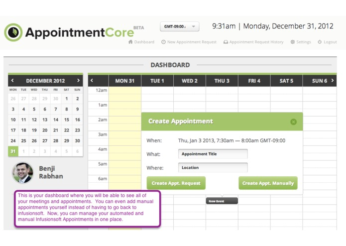 AppointmentCore: Automate Your Infusionsoft Appointments – screenshot 2