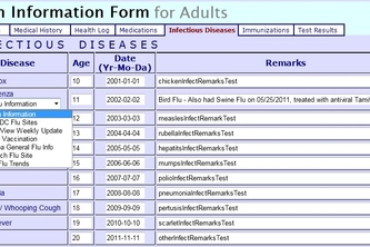 Personal Health Record ( PHR ) web site Flu section
