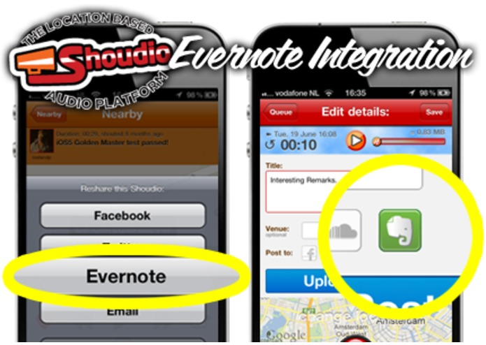 Remember audiomoments on Shoudio with Evernote. – screenshot 1