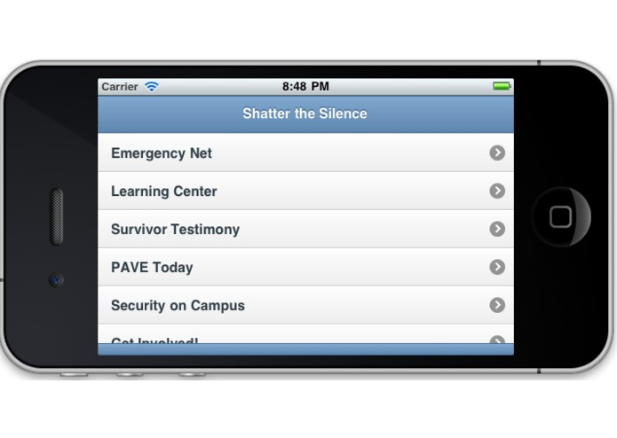 PAVE and Security on Campus' Mobile Application to Shatter the Silence of Sexual and Dating Violence! – screenshot 3