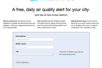 AirStatus - A free, daily air quality alert for your city