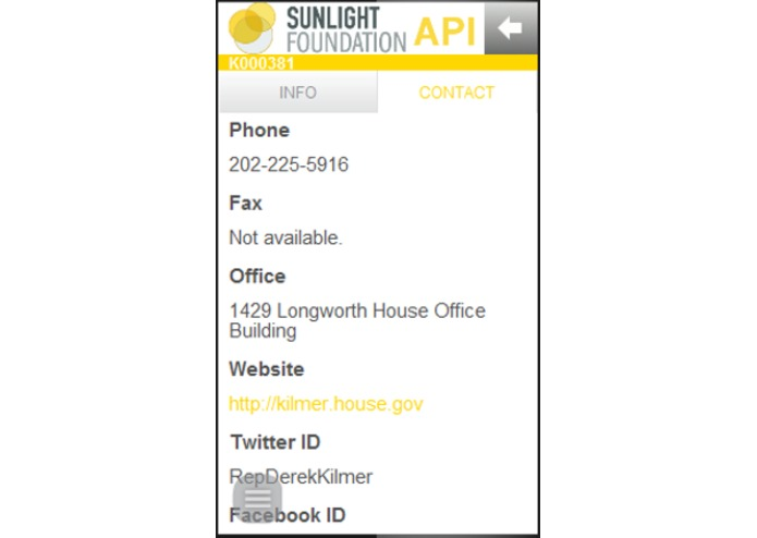 Sunlight Congress API – screenshot 2