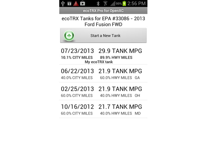 ecoTRX™ Pro for OpenXC Personalized MPG App – screenshot 5