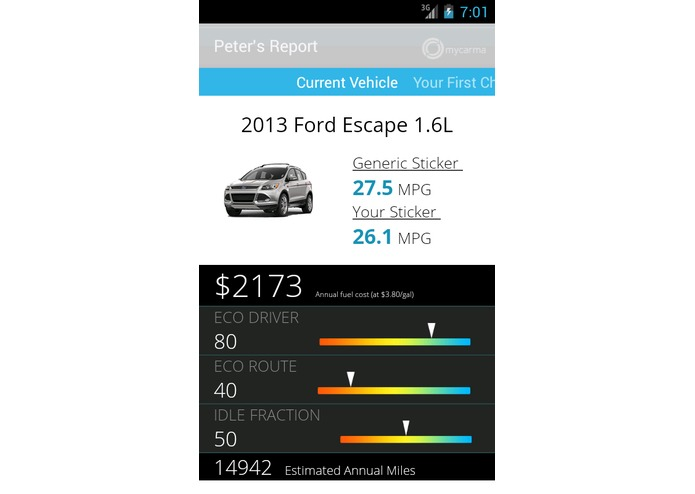 MyCarma - OpenXC - Personal Fuel Economy Label – screenshot 1