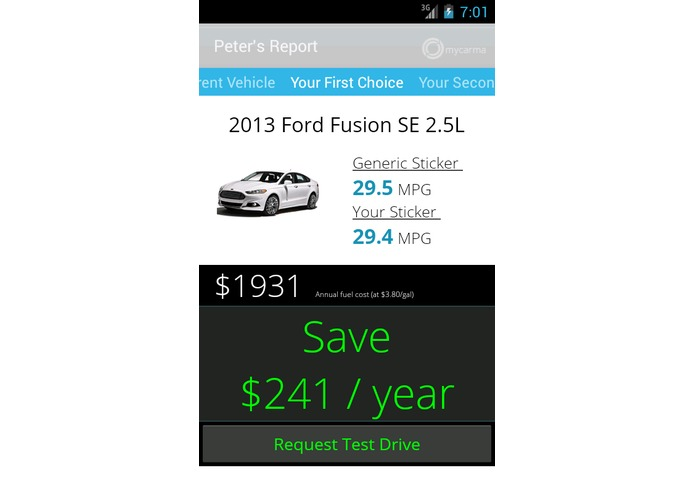 MyCarma - OpenXC - Personal Fuel Economy Label – screenshot 2