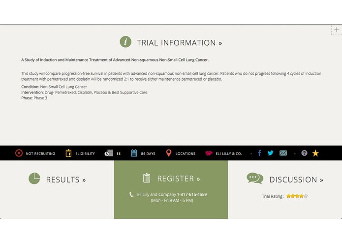 Dynamic Trial Information to Empower Patients – screenshot 1