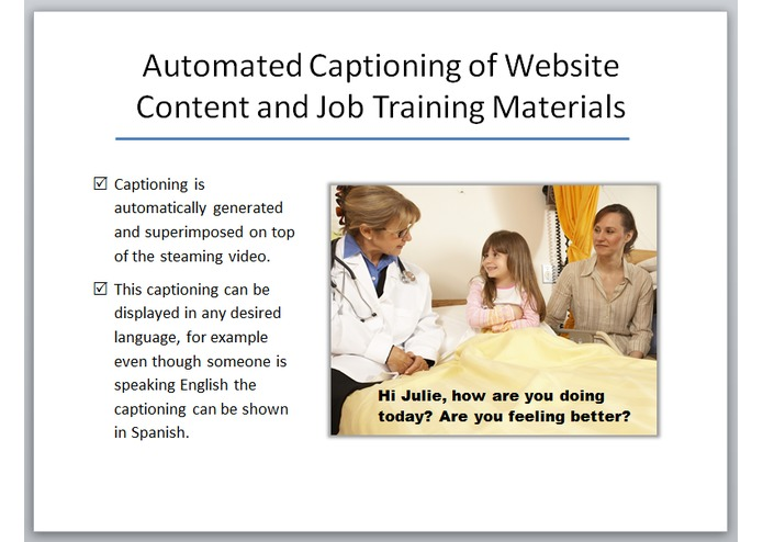 Automated Captioning of Website Content and Job Training Materials – screenshot 1