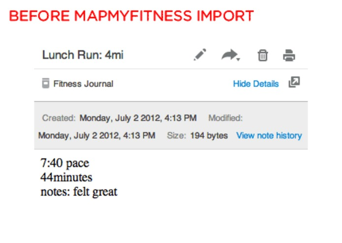Evernote Fitness Journal – screenshot 2