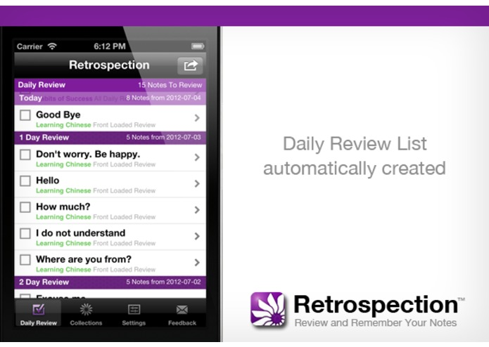 Retrospection (iOS App for Reviewing and Remembering Your Notes) – screenshot 2