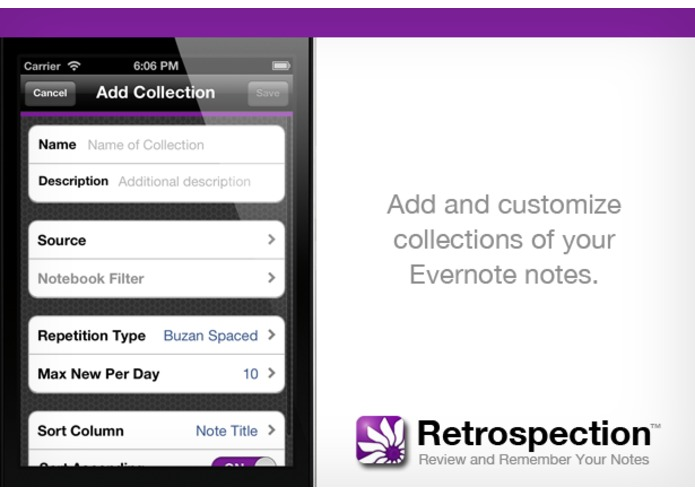 Retrospection (iOS App for Reviewing and Remembering Your Notes) – screenshot 4
