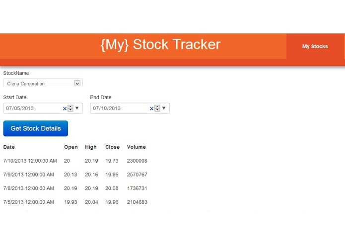 MyStocksTracker – screenshot 1