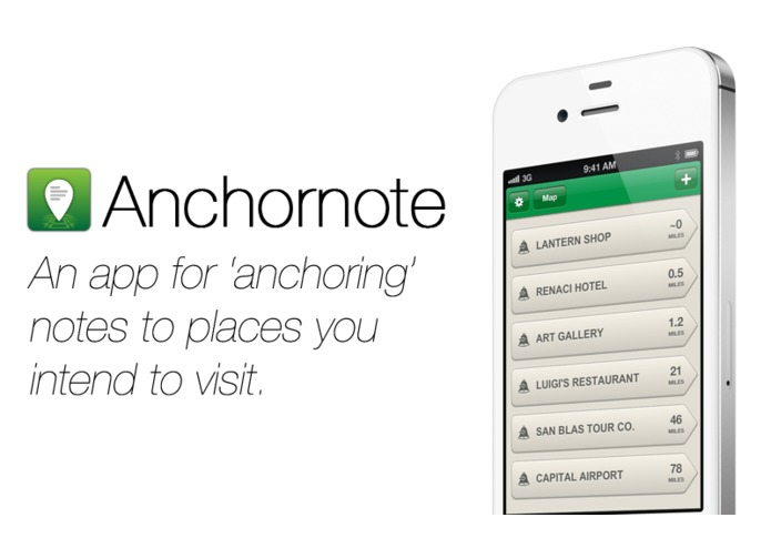 Anchornote (Plan trips by 'anchoring' notes to places) – screenshot 1