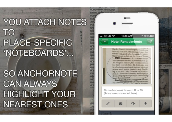 Anchornote (Plan trips by 'anchoring' notes to places) – screenshot 2
