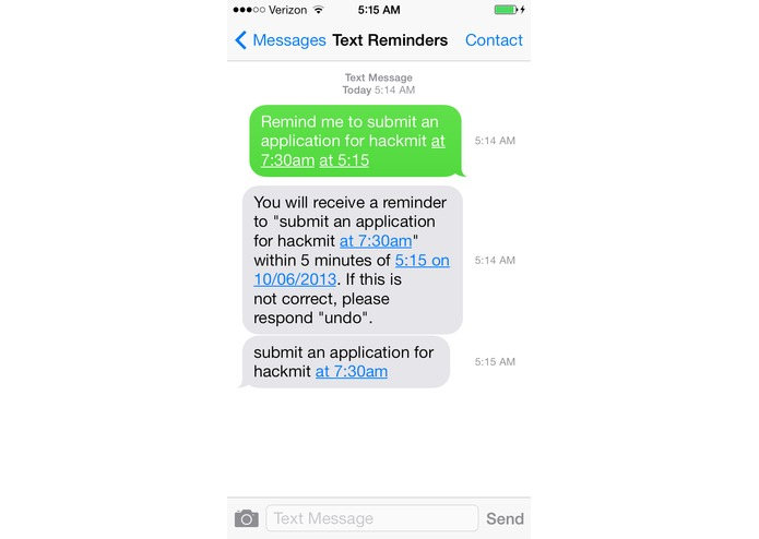 Reminders by Text – screenshot 2