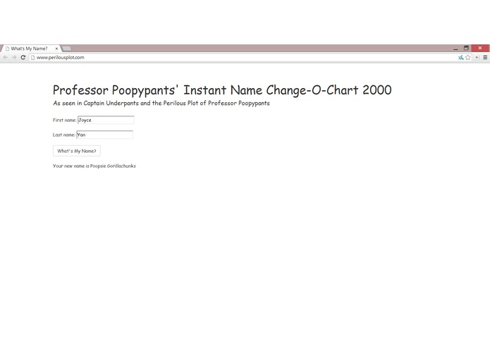 Professor Poopypants' Instant Name Change-O-Chart 2000 – screenshot 1