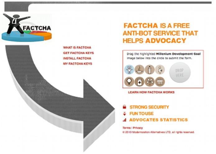 FACTCHA: Stop Spam, Advocate for the MDGs! – screenshot 1