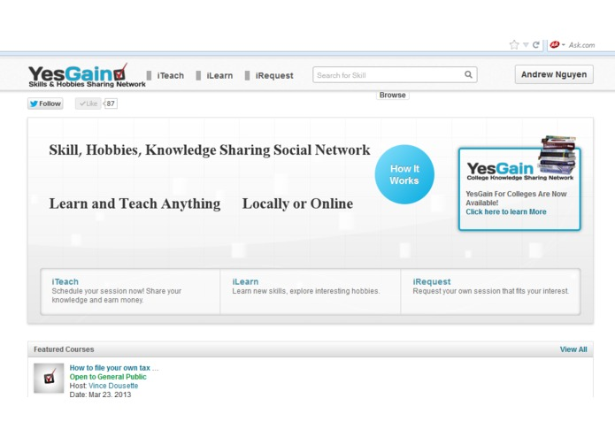 YesGain-Tutoring Mangement and Administration tool. Apps for Sharing Knowledge, Skills, and Hobbies. – screenshot 1