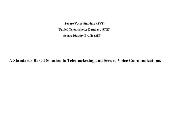 A Standards Based Solution to Telemarketing and Secure Voice Communications – screenshot 1