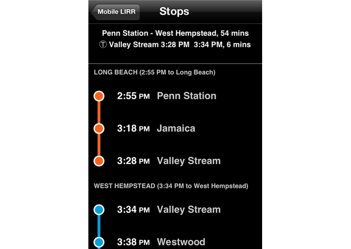 Mobile LIRR – screenshot 2