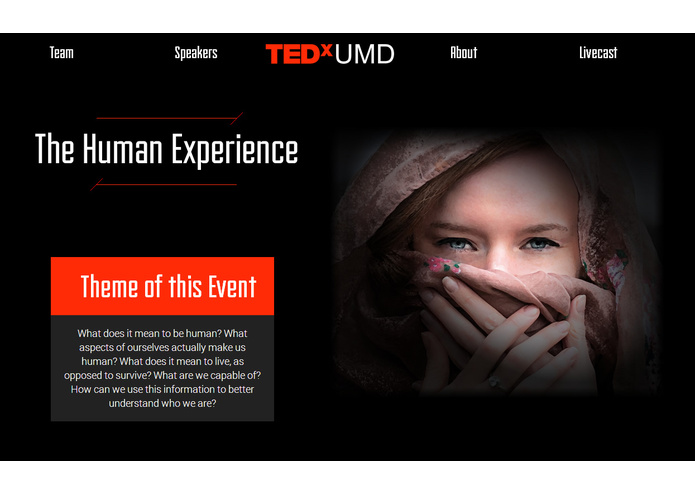 TEDxUMD Website – screenshot 2