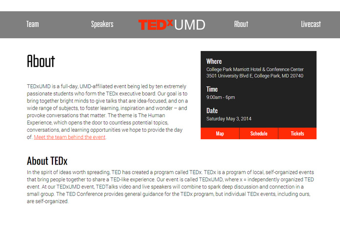 TEDxUMD Website – screenshot 4