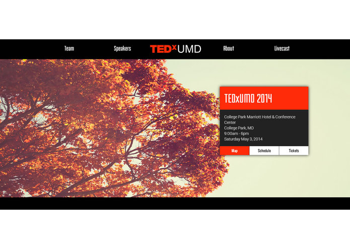 TEDxUMD Website – screenshot 5