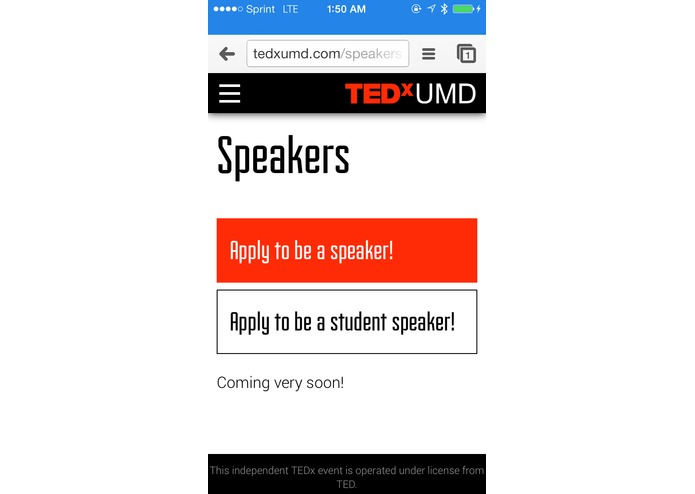 TEDxUMD Website – screenshot 7