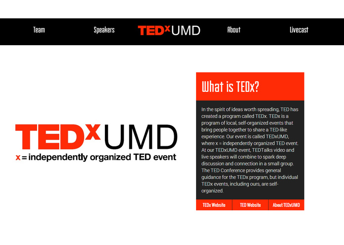 TEDxUMD Website – screenshot 9