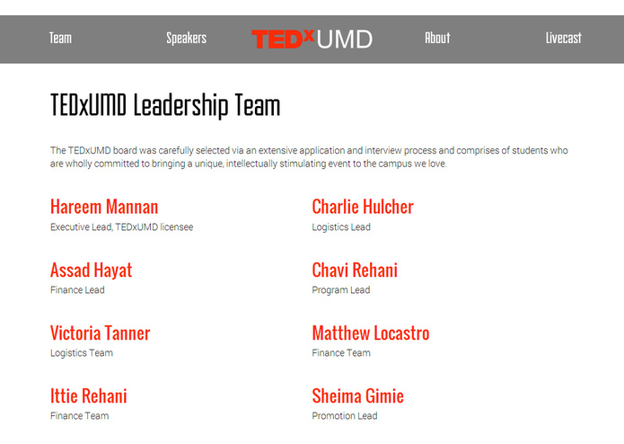 TEDxUMD Website – screenshot 10