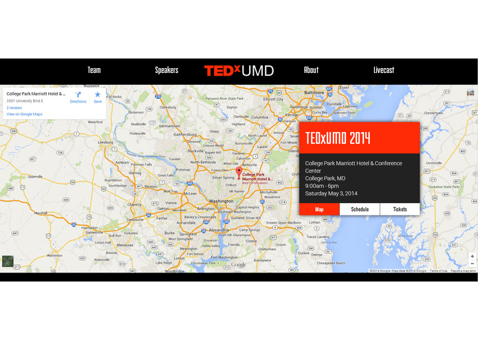 TEDxUMD Website – screenshot 11