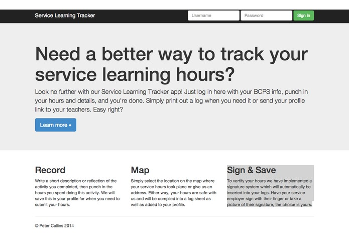 Service Learning Tracker – screenshot 1