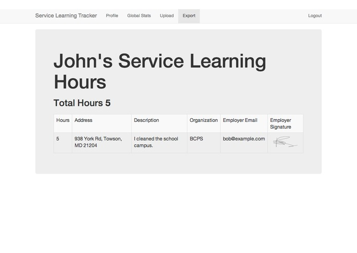 Service Learning Tracker – screenshot 2