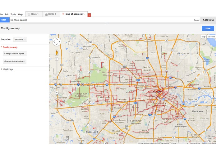 Houston Bike Routes Fusion Table – screenshot 1