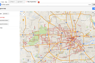 Houston Bike Routes Fusion Table