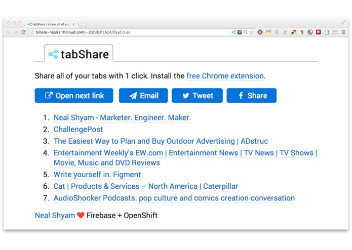 tabShare – screenshot 1