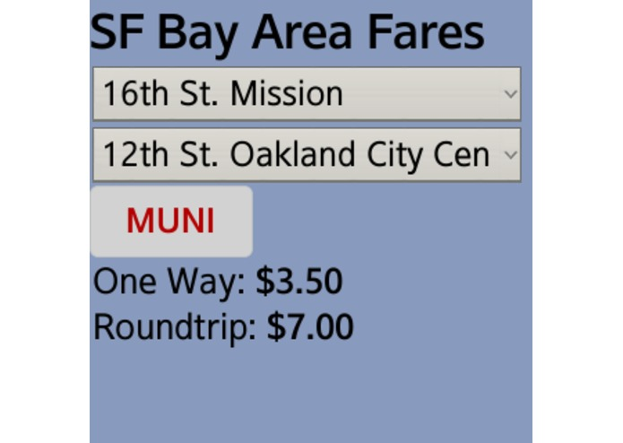 SF Bay Area Transit Fare Calculator  – screenshot 1