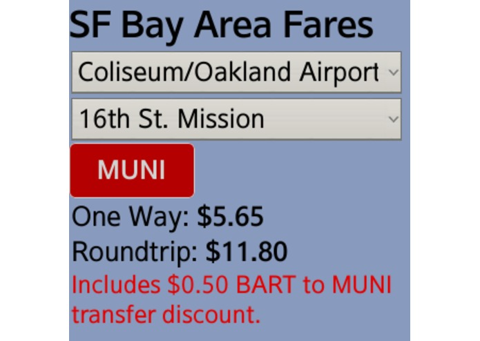 SF Bay Area Transit Fare Calculator  – screenshot 2