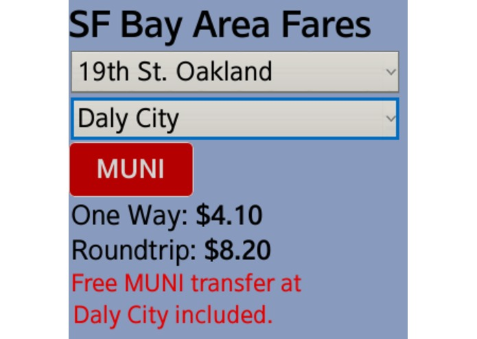 SF Bay Area Transit Fare Calculator  – screenshot 3