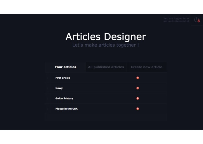 Interactive articles designer – screenshot 1
