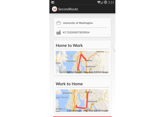 SecondRoute Traffic-Rerouting for Android, Android Wear, and Windows Phone – screenshot 1