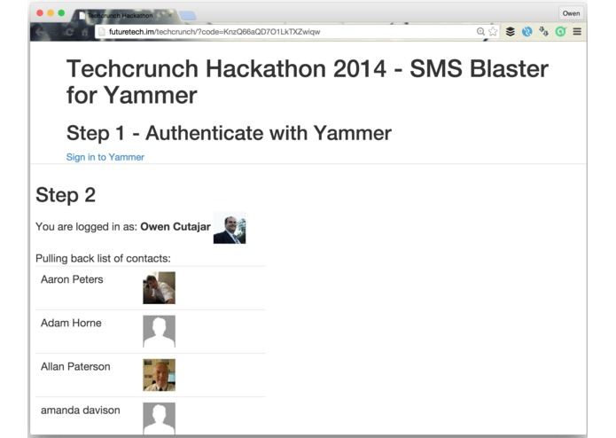 Yammer SMS Blaster – screenshot 4
