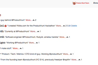 Yfolks - ProductHunt for people - Today featuring the ProductHunt team.