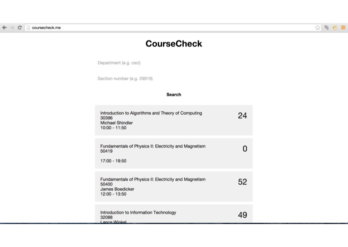 CourseCheck – screenshot 2