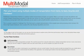 MultiModal Transportation Platform - Commuter Smart Routing System